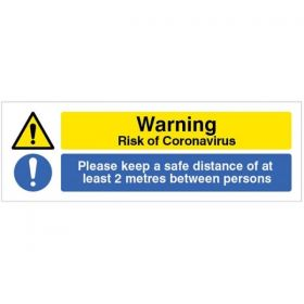 Warning Risk Of Coronavirus - Please Keep A Safe Distance Of At Least 2 Metres Between Persons Floor Graphic - 54996