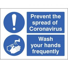 Prevent The Spread Of Coronavirus - Wash Your Hands Frequently Sign - Self-Adhesive Vinyl - 25026E