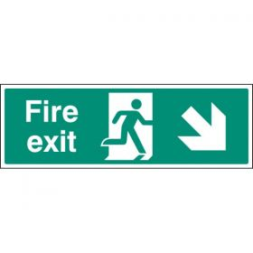 Fire Exit Sign - White - Down Right Arrow