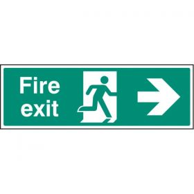 Fire Exit Sign - White - Right Arrow