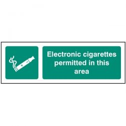 Electronic Cigarettes Permitted In This Area Sign - Self-Adhesive Vinyl - 23259G
