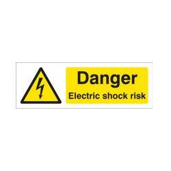 Danger Electrical Shock Risk Warning Sign - Rigid Plastic - 300 x 100mm