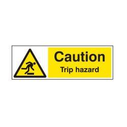 Caution Trip Hazard Warning Sign - Rigid Plastic - 300 x 100mm