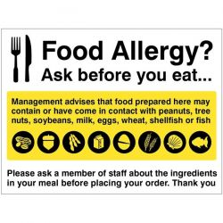 Food Allergy? Ask Before You Eat Safety Sign - Self-Adhesive Vinyl - 25632K
