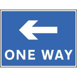 One Way Sign With Left Arrow - 400 x 300mm - 17509K