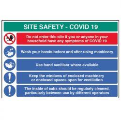 Construction Site Safety Sign - COVID-19 - Rigid Plastic - 18454W