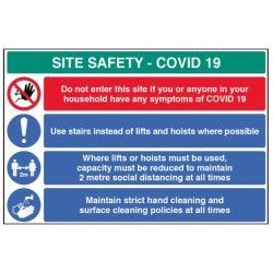Construction Site Safety Sign - COVID-19 - Rigid Plastic - 18455W
