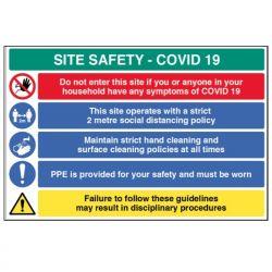 Coronavirus Construction Site Safety Sign - Rigid Plastic - 18456W