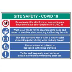 Coronavirus Construction Site Safety Sign - Rigid Plastic - 18457W