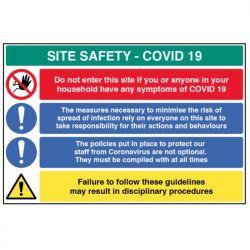 Coronavirus Building Site Safety Sign - Rigid Plastic - 18459W