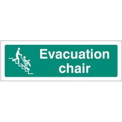 Evacuation Chair Sign - Rigid PVC - 300 x 100mm - 12147G