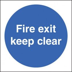 Fire Exit Keep Clear Sign - Self-Adhesive Vinyl - 80 x 80mm - 21606B