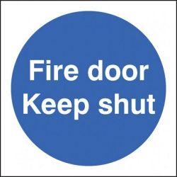 Fire Door Keep Locked Shut Sign - Self-Adhesive Vinyl - 80 x 80mm - 21621B