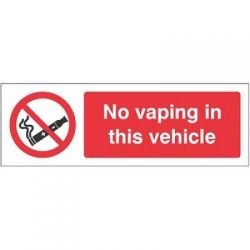 No Vaping In This Vehicle Sign - Self-Adhesive Vinyl - 23059G