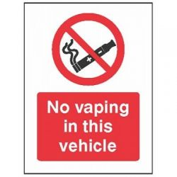 No Vaping In This Vehicle Sign - Self-Adhesive Vinyl - 23059A