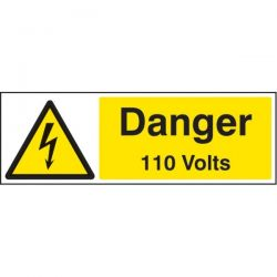 Danger 110 Volts Sign - Self-Adhesive Vinyl - 24002G