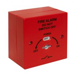 T2 400-220RB Fire Alarm Mains Isolation Keyswitch With Surface Backbox - Red