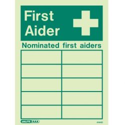 Jalite 4144D Photoluminescent Nominated First Aiders Sign
