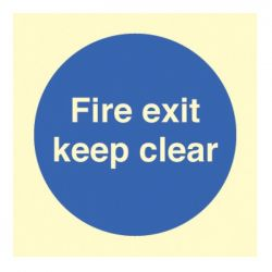 Photoluminescent Fire Exit Keep Clear Sign - Self-Adhesive Vinyl - 80 x 80mm - 41606B