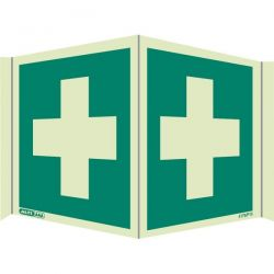 Jalite 4175/P15 Wall Mounted Panoramic First Aid Sign - Photoluminescent