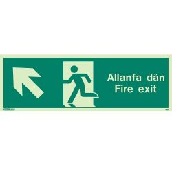 Jalite Allanfa Dan Fire Exit Sign - Up Left Arrow - 428U
