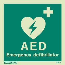 4347C Jalite Photoluminescent Emergency Defibrillator Sign 150 x 150mm