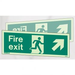 Jalite 438DSX Up Left / Right Hand Fire Exit Double Sided Ceiling Suspended Sign - Photoluminescent - 250 x 600mm