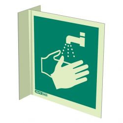 Jalite 4391FS15 Wall Mounted Double Sided Wash Your Hands Sign - Photoluminescent - 150 x 150mm