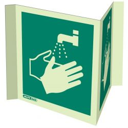 Jalite 4391P20 Wall Mounted Panoramic Wash Your Hands Sign - Photoluminescent - 200 x 200mm