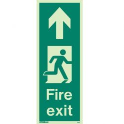Jalite 440K Up Arrow Photoluminescent Fire Exit Sign (150 x 400mm) For Wall / Column Mounting