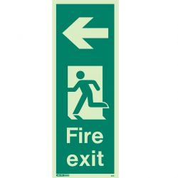 Jalite 441K Left Arrow Photoluminescent Fire Exit Sign (150 x 400mm) For Wall / Column Mounting