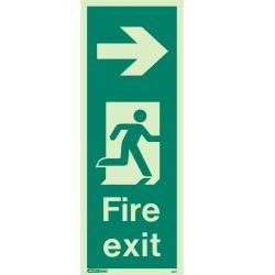 Jalite 442K Right Arrow Photoluminescent Fire Exit Sign (150 x 400mm) For Wall / Column Mounting
