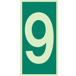 Jalite 4629G Number 9 Photoluminescent Assembly Point Designation Sign