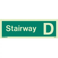 Jalite 4705PT Photoluminescent Stairway D Staircase Identification Sign
