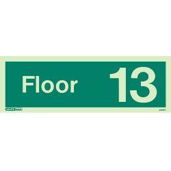 Jalite 4740PT Photoluminescent Thirteenth Floor Identification Sign