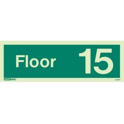 Jalite 4742PT Photoluminescent Fifteenth Floor Identification Sign