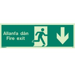 Jalite Allanfa Dan Fire Exit Sign - Down Arrow - 481U