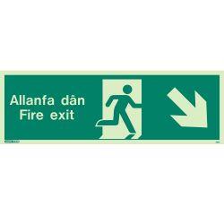 Jalite Allanfa Dan Fire Exit Sign - Down Right Arrow - 482U