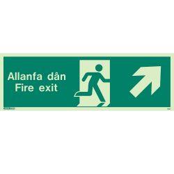 Jalite Allanfa Dan Fire Exit Sign - Up Right Arrow - 485U