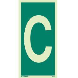 Jalite 4873G Letter C Photoluminescent Assembly Point Designation Sign