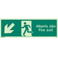 Jalite Allanfa Dan Fire Exit Sign - Down Left Arrow - 490U