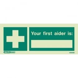 Jalite 4986M Photoluminescent First Aider Sign - 80 x 200mm