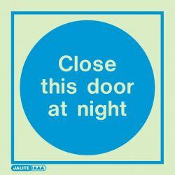 Jalite 5123A Photoluminescent Close This Door At Night Sign - Rigid PVC - 100 x 100mm