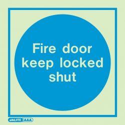 Jalite 5140C Fire Door Keep Locked Shut Photoluminescent Sign - 150 x 150mm