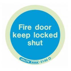 Jalite 5140O Photoluminescent Fire Door Keep Locked Shut Adhesive Disc - 80mm Diameter