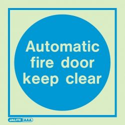 Jalite 5141A Automatic Fire Door Keep Clear Photoluminescent Sign - 100 x 100mm