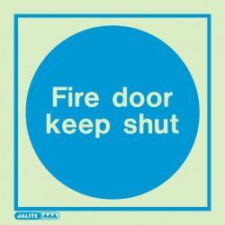 Jalite 5421A Fire Door Keep Shut Photoluminescent Sign - 100 x 100mm