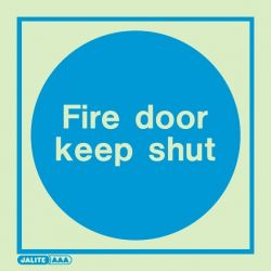 Jalite 5421C Fire Door Keep Shut Photoluminescent Sign - 150 x 150mm