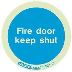 5421O Jalite Photoluminescent Fire Door Keep Shut Adhesive Disc - 80mm Diameter
