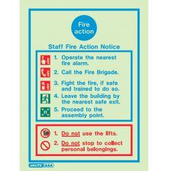 Jalite 5479D Staff Fire Action Notice - 150 x 200mm